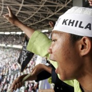 A member of Hizbut Tahrir Indonesia attends the International Caliphate Conference in Jakarta